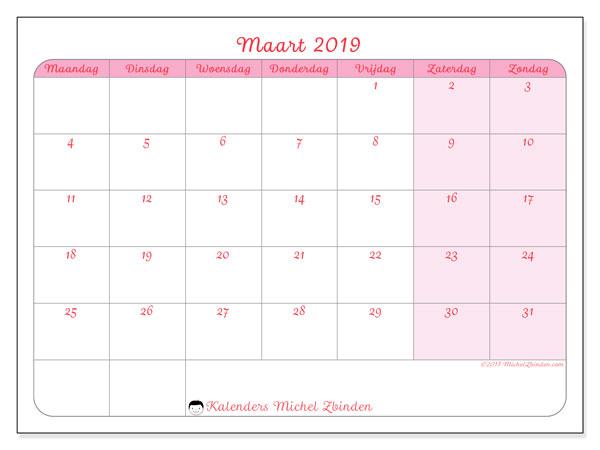 Kalender maart 2019, 63MZ. Agenda om gratis te printen.