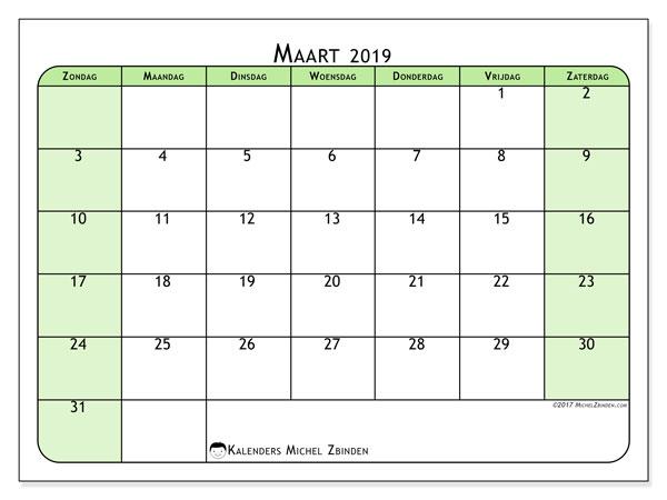 Kalender maart 2019, 65ZZ. Kalender om gratis af te drukken.