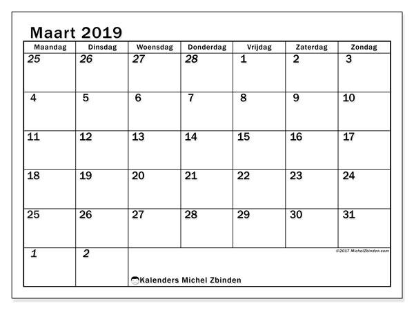 Kalender maart 2019, 66MZ. Maandkalender om gratis te printen.