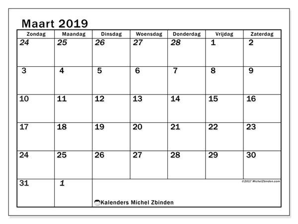 Kalender maart 2019, 66ZZ. Agenda om gratis te printen.