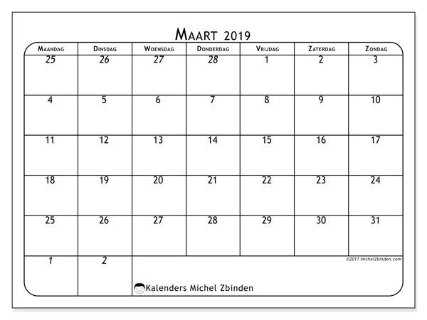 Kalender  maart 2019, 67MZ