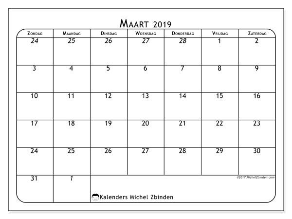 Kalender maart 2019, 67ZZ. Gratis kalender om af te drukken.