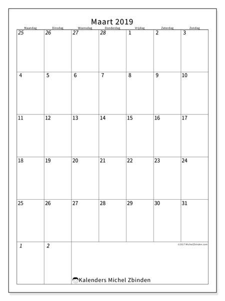 Kalender maart 2019, 68MZ. Gratis printbare kalender.