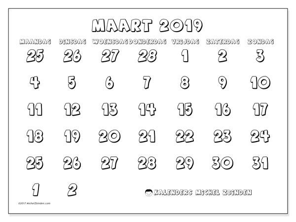Kalender maart 2019, 71MZ. Kalender om gratis te printen.