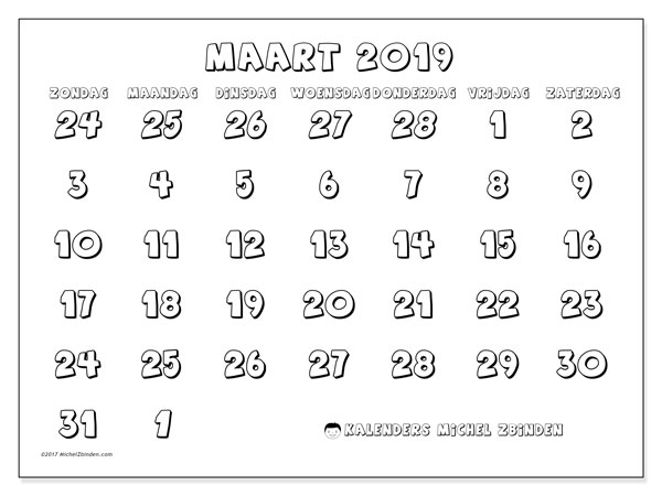 Kalender maart 2019, 71ZZ. Gratis printbare kalender.
