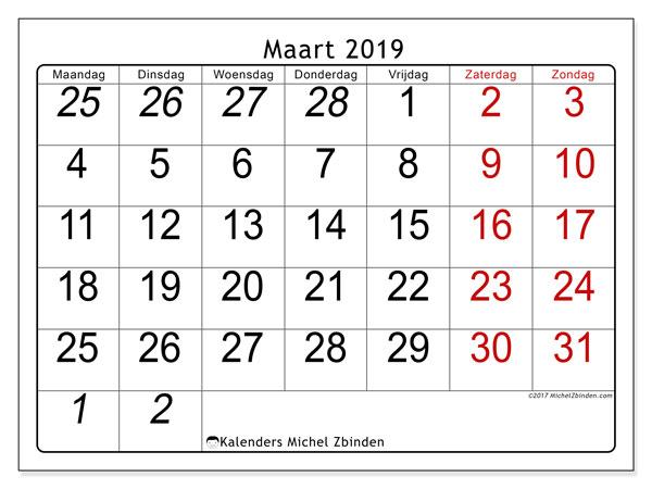 Kalender maart 2019, 72MZ. Maandkalender om gratis te printen.