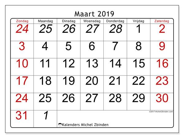Kalender maart 2019, 72ZZ. Kalender voor de maand die gratis moet worden afgedrukt.