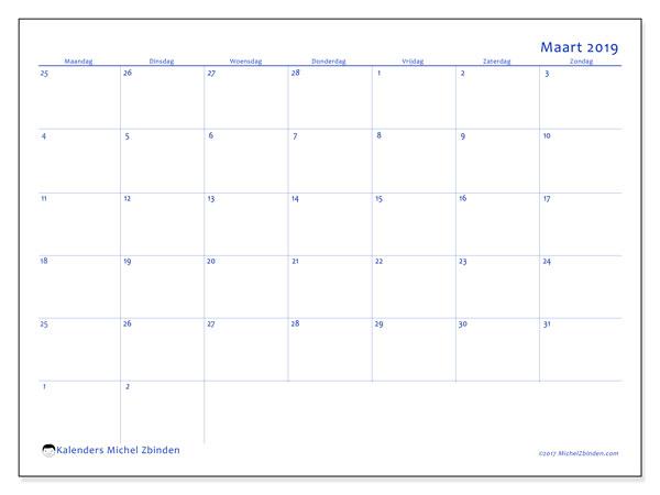Kalender maart 2019, 73MZ. Kalender om gratis af te drukken.