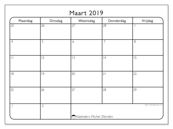 Kalender maart 2019, 74MV. Kalender om gratis te printen.
