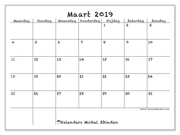 Kalender  maart 2019, 77MZ