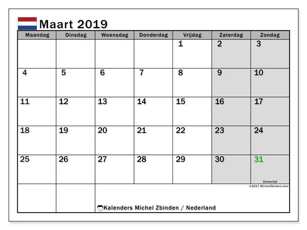 Kalender maart 2019 met de feestdagen van Nederland. Kalender om gratis te printen.