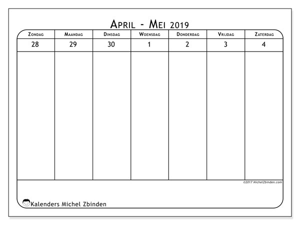 Kalender mei 2019, 43-1ZZ. Agenda om gratis te printen.