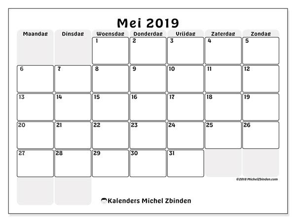 Kalender  mei 2019, 44MZ