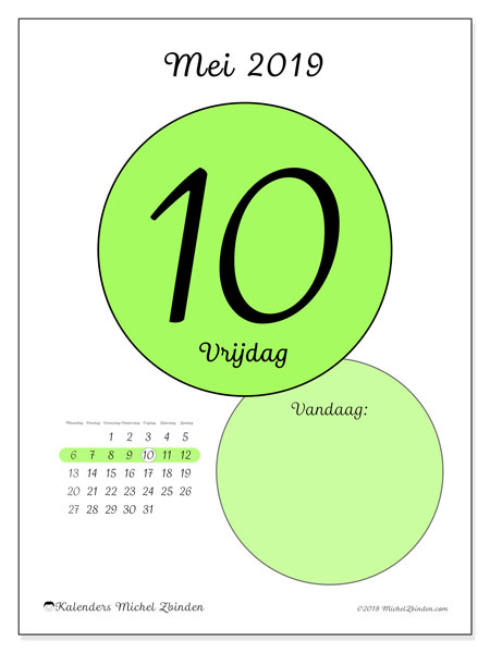 Kalender mei 2019, 45-10MZ. Dagelijkse kalender om gratis te printen.