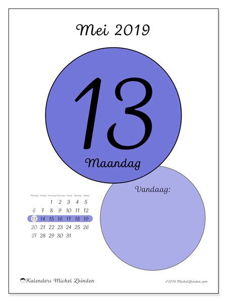 Kalender mei 2019, 45-13MZ. Dagelijkse kalender om gratis te printen.