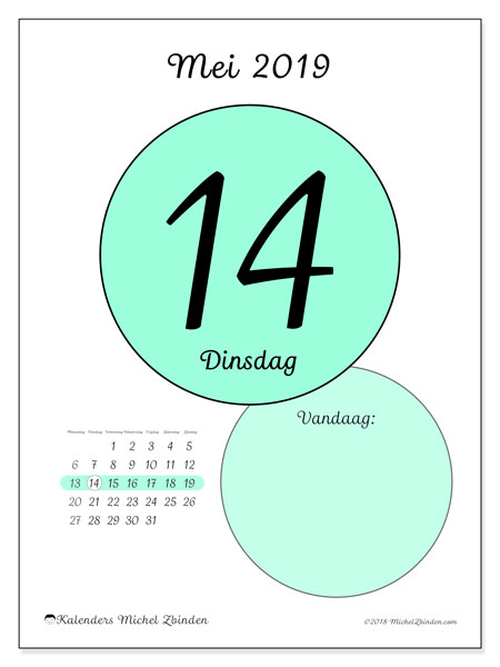 Kalender mei 2019, 45-14MZ. Dagelijkse kalender om gratis te printen.