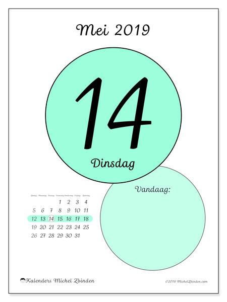 Kalender mei 2019, 45-14ZZ. Dagelijkse kalender om gratis te printen.