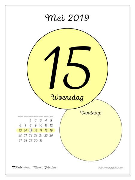 Kalender mei 2019, 45-15MZ. Dagelijkse kalender om gratis te printen.