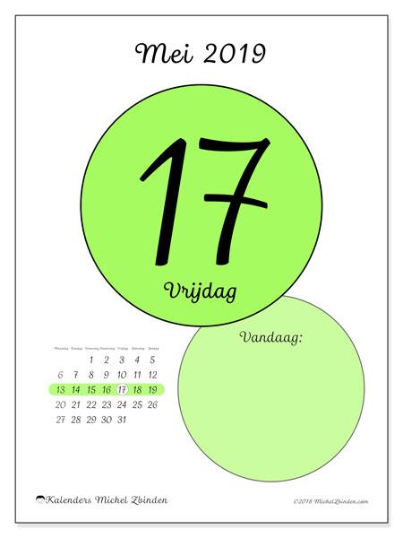 Kalender mei 2019, 45-17MZ. Dagelijkse kalender om gratis te printen.
