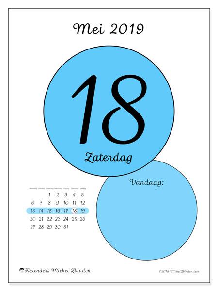 Kalender mei 2019, 45-18MZ. Dagelijkse kalender om gratis te printen.