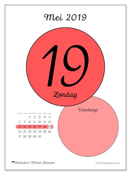 Kalender mei 2019, 45-19MZ. Dagelijkse kalender om gratis te printen.