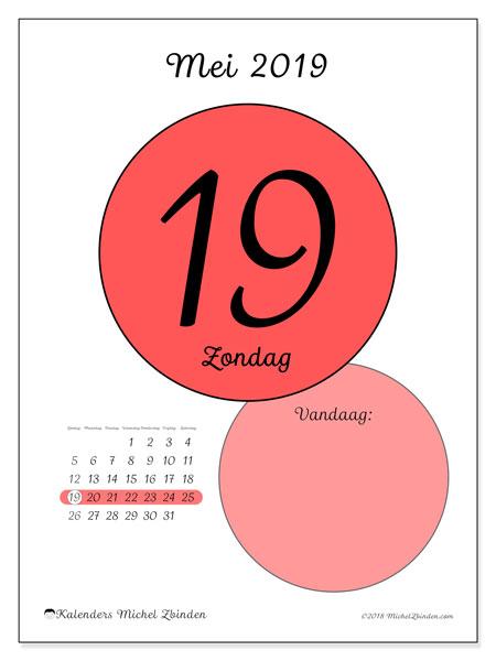 Kalender mei 2019, 45-19ZZ. Dagelijkse kalender om gratis te printen.
