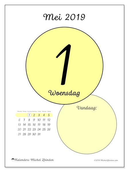 Kalender mei 2019, 45-1MZ. Kalender voor de dag om gratis te printen.