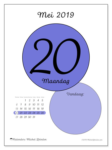 Kalender mei 2019, 45-20MZ. Dagelijkse kalender om gratis te printen.