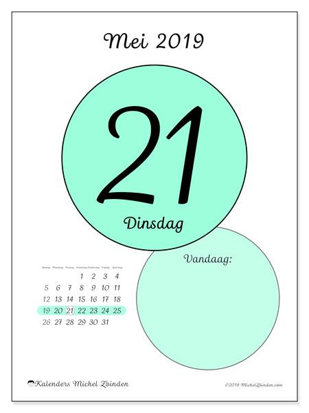 Kalender mei 2019, 45-21ZZ. Kalender voor de dag om gratis te printen.