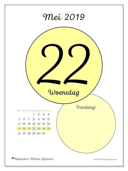 Kalender mei 2019, 45-22ZZ. Dagelijkse kalender om gratis te printen.