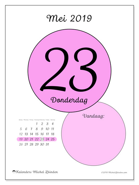 Kalender mei 2019, 45-23ZZ. Dagelijkse kalender om gratis te printen.