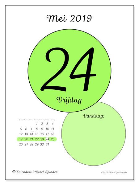 Kalender mei 2019, 45-24ZZ. Kalender voor de dag om gratis te printen.