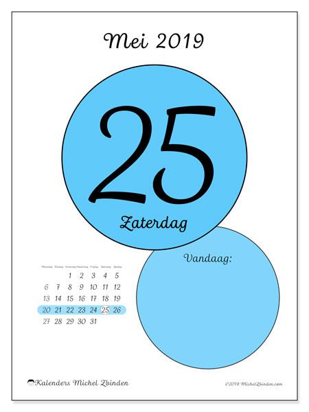 Kalender mei 2019, 45-25MZ. Dagelijkse kalender om gratis te printen.