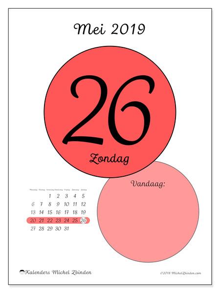 Kalender mei 2019, 45-26MZ. Kalender voor de dag om gratis te printen.