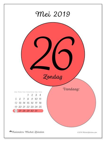 Kalender mei 2019, 45-26ZZ. Dagelijkse kalender om gratis te printen.
