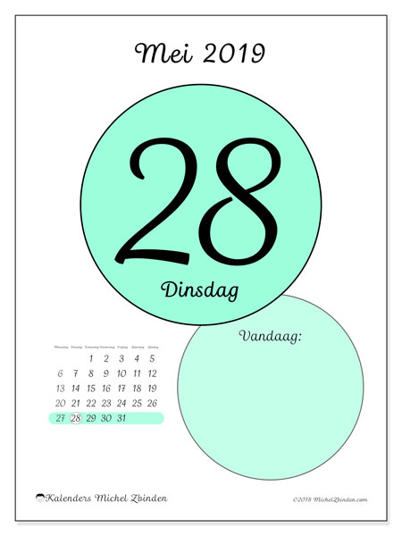 Kalender mei 2019, 45-28MZ. Kalender voor de dag om gratis te printen.