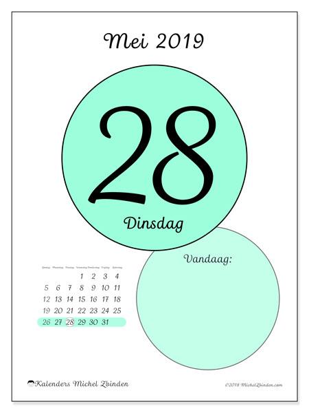 Kalender mei 2019, 45-28ZZ. Kalender voor de dag om gratis te printen.