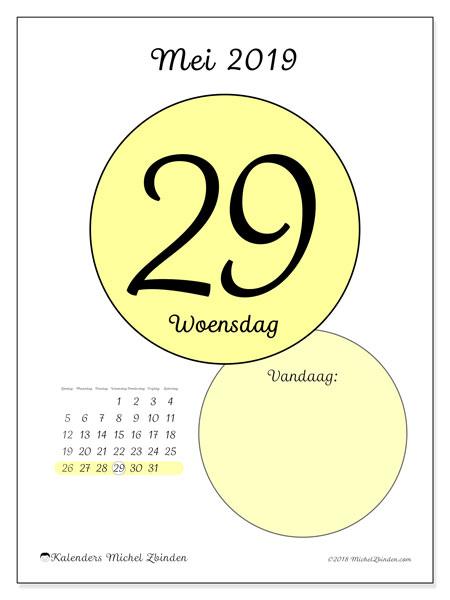 Kalender mei 2019, 45-29ZZ. Dagelijkse kalender om gratis te printen.