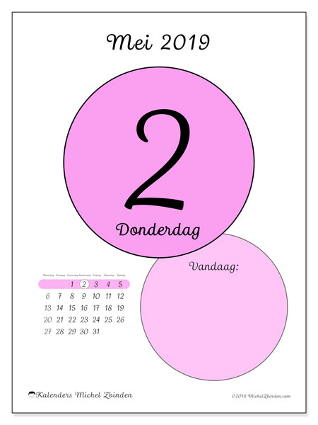 Kalender mei 2019, 45-2MZ. Dagelijkse kalender om gratis te printen.