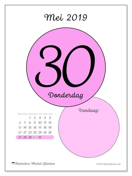 Kalender mei 2019, 45-30MZ. Kalender voor de dag om gratis te printen.
