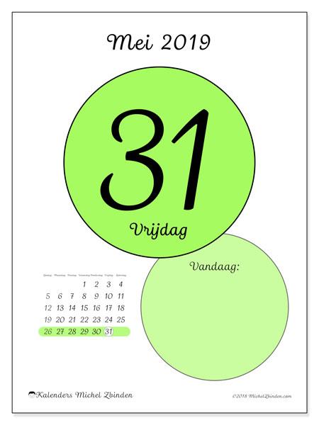 Kalender mei 2019, 45-31ZZ. Kalender voor de dag om gratis te printen.