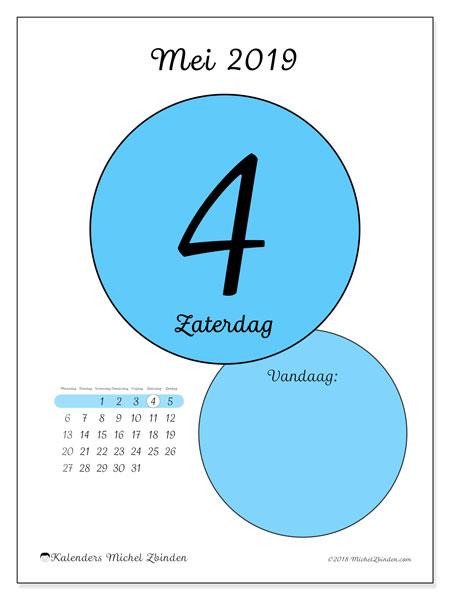Kalender mei 2019, 45-4MZ. Dagelijkse kalender om gratis te printen.