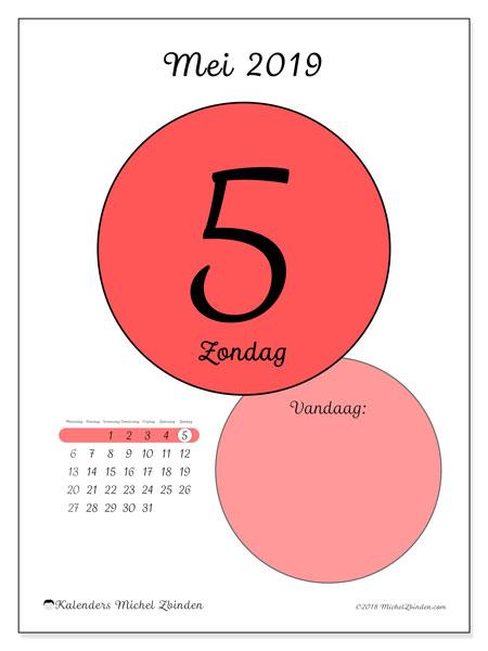 Kalender mei 2019, 45-5MZ. Dagelijkse kalender om gratis te printen.