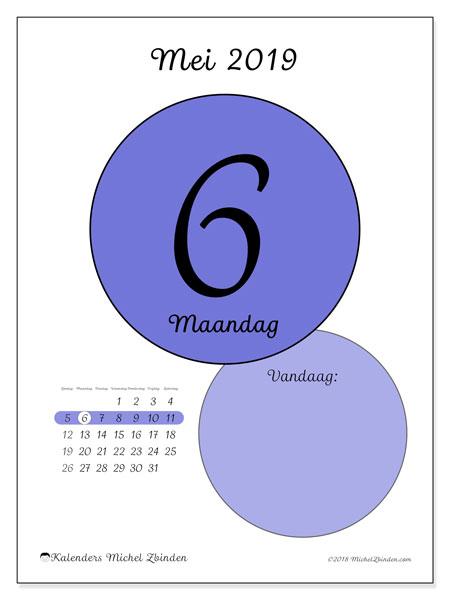 Kalender mei 2019, 45-6ZZ. Dagelijkse kalender om gratis te printen.