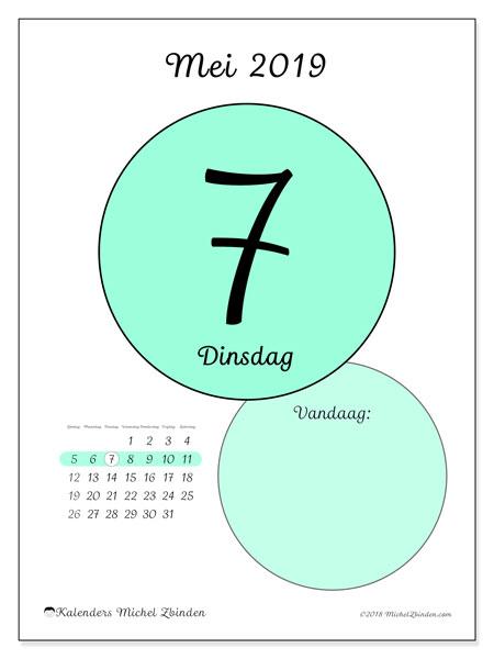 Kalender mei 2019, 45-7ZZ. Dagelijkse kalender om gratis te printen.