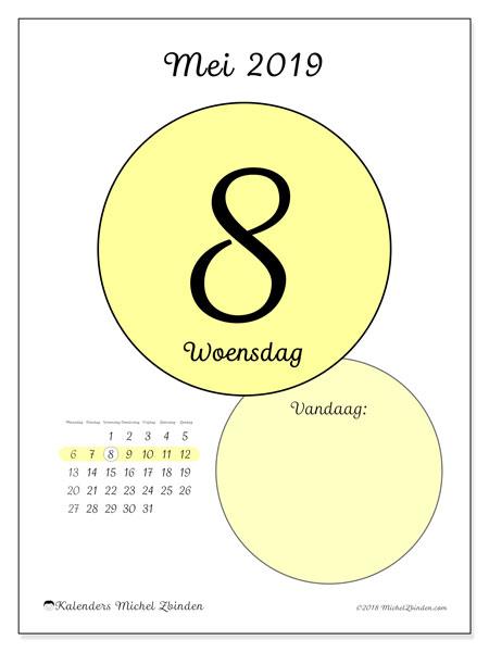 Kalender mei 2019, 45-8MZ. Dagelijkse kalender om gratis te printen.