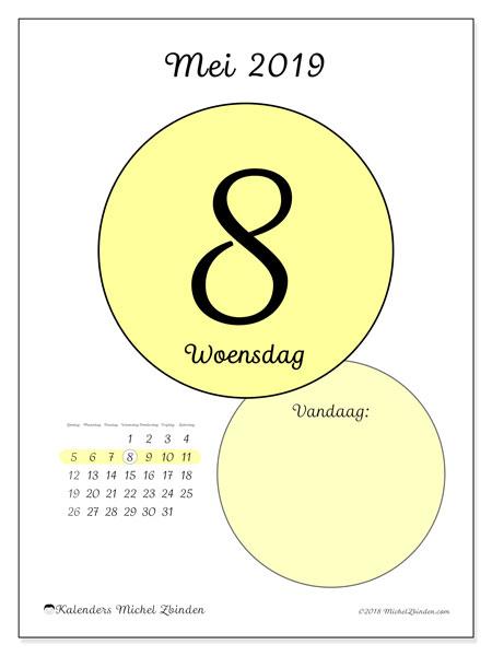 Kalender mei 2019, 45-8ZZ. Kalender voor de dag om gratis te printen.
