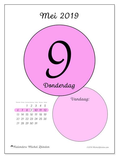 Kalender mei 2019, 45-9MZ. Kalender voor de dag om gratis te printen.