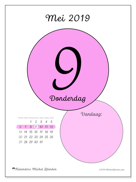 Kalender mei 2019, 45-9MZ. Dagelijkse kalender om gratis te printen.
