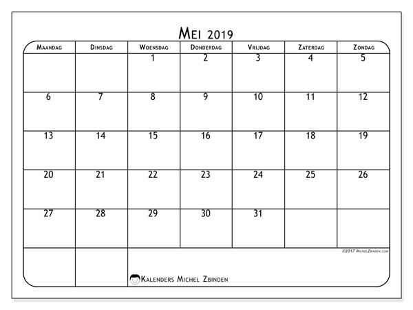 Kalender mei 2019, 51MZ. Kalender om gratis af te drukken.